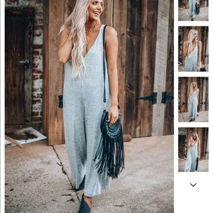 Hash Tag Casual Jumpsuit in Light Grey